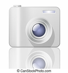 Illustration of a digital camera on a white background.