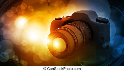 Digital camera on beautiful digital background