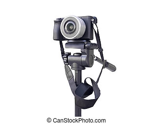 Digital camera on the tripod isolated over white