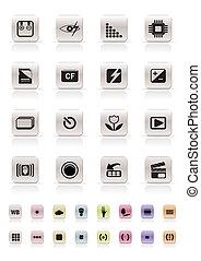 Digital Camera  Performance - Vector Icon Set