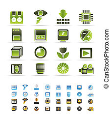 Digital Camera Performance - Vector Icon Set - 3 colors...