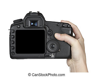 close up of digital dslr camera on white background with clipping path