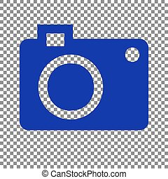 Digital camera sign. Blue icon on transparent background.