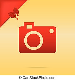 Digital camera sign. Cristmas design red icon on gold background.
