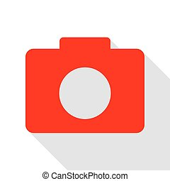 Digital camera sign. Red icon with flat style shadow path.