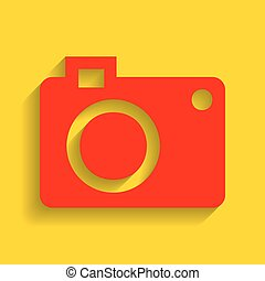 Digital camera sign. Vector. Red icon with soft shadow on golden background.