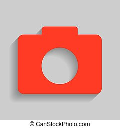 Digital camera sign. Vector. Red icon with soft shadow on gray background.