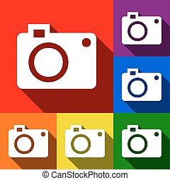Digital camera sign. Vector. Set of icons with flat shadows at red, orange, yellow, green, blue and violet background.