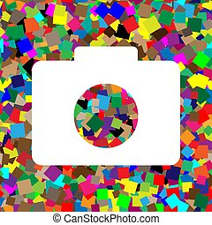 Digital camera sign. Vector. White icon on colorful background w