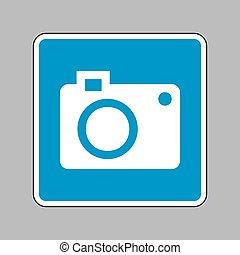 Digital camera sign. White icon on blue sign as background.
