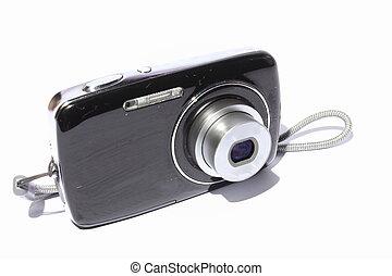 Digital Camera - Isolated black and silver digital camera.