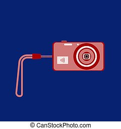 Digital camera with WiFi and with wrist strap on a dark blue background. Flat design. Vector illustration.
