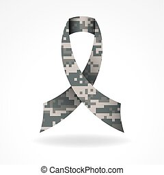 Digital Camo Military Support Ribbon Illustration