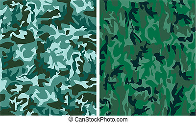 digital camouflage seamless patterns (forest, urban, universal colors)
