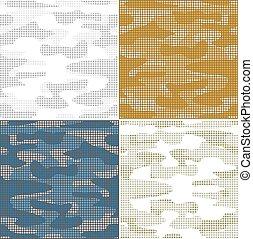 Digital camouflage seamless patterns - vector set. - Digital...