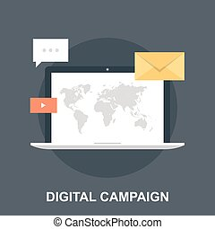 Vector illustration of digital campaign flat design concept.