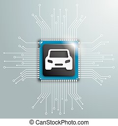 Digital Car Futuristic Processor Circuit Board Infographic