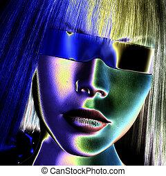 digital, cara femenina