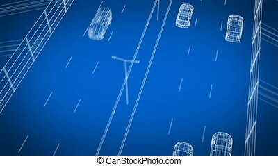 Digital Cars Driving on Abstract Highway Beautiful Looped 3d...