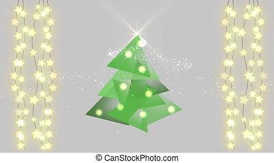 Digital Christmas tree against strings of fairy lights - ...