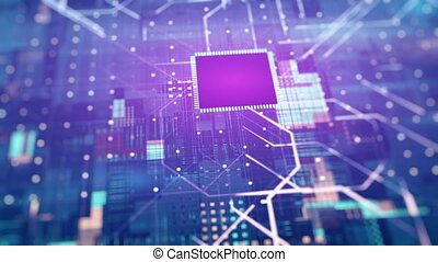 Digital Circuit Background. Transfer Of Information, Cloud Computing And Big Data Concept