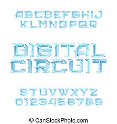 Digital circuit board alphabet font. Digital hi-tech style letters and numbers.