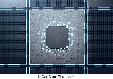 Digital circuit board with computer cpu.