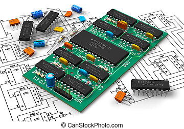 Electronics industry concept: digital circuit board with microchips over schematic diagram isolated on white background Design of circuit board, schematic layout and all components is my own and all text labels and numbers are fully abstract