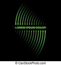 Digital circuit track neon banner. Twisted glowing dots on a black background. Residual trace of luminous dots.