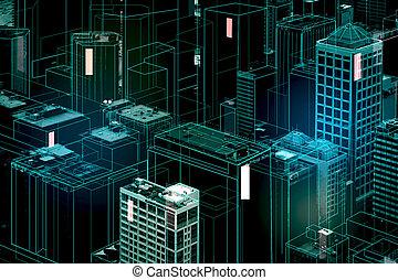Digital city backdrop