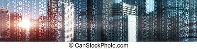 Digital city binary code. Matrix Mixed Media Background