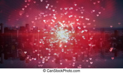 Digital city filled with hearts