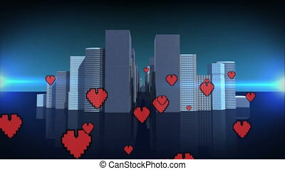 Digital city with flying hearts