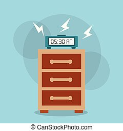 digital clock alarm on bedside table