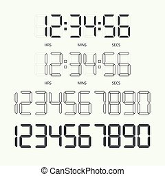 Digital clock and numbers.