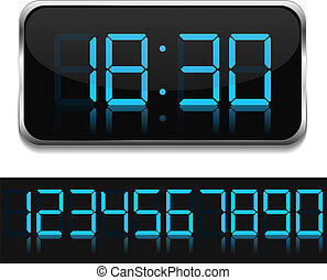 Digital Clock - Blue digital clock, vector eps10...