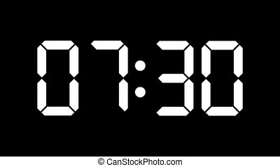 Digital clock count from zero to sixty - full HD - LCD display - white numbers over a black background