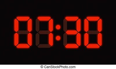 Digital clock count from zero to sixty - full HD - LED display - orange numbers