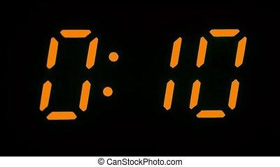 Digital clock count from zero to twenty-nine