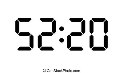 Digital clock countdown from sixty to zero - full HD - Timer with LCD display - black numbers over a white background