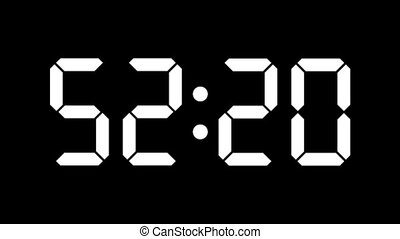 Digital clock countdown from sixty