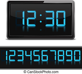 Digital Clock - Digital clock and set of glowing numbers,...