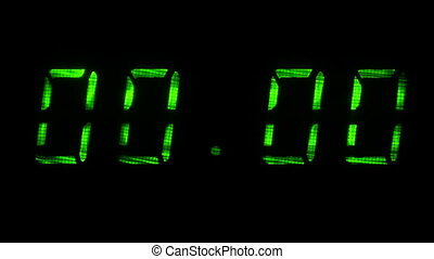 Digital clock display shows time of 00 hours 00 minutes to 00 hours 01 minutes