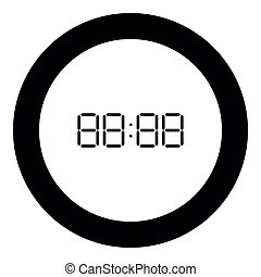 Digital clock face icon black color in round circle