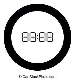 Digital clock face icon black color in round circle