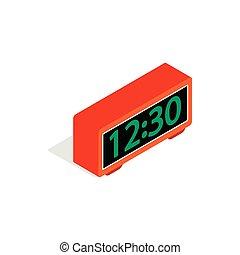 Digital clock icon, isometric 3d style