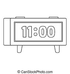 Digital clock icon, outline style.
