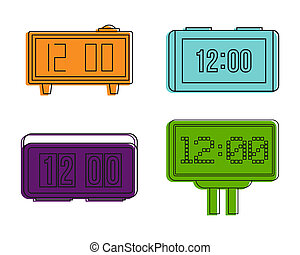 Digital clock icon set, color outline style
