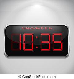 Digital clock on gray wall
