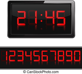 Digital Clock - Red digital clock and numbers, vector eps10...